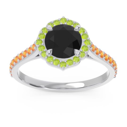 Black Onyx Halo Pave Pulla Ring with Peridot and Citrine in 18k White Gold