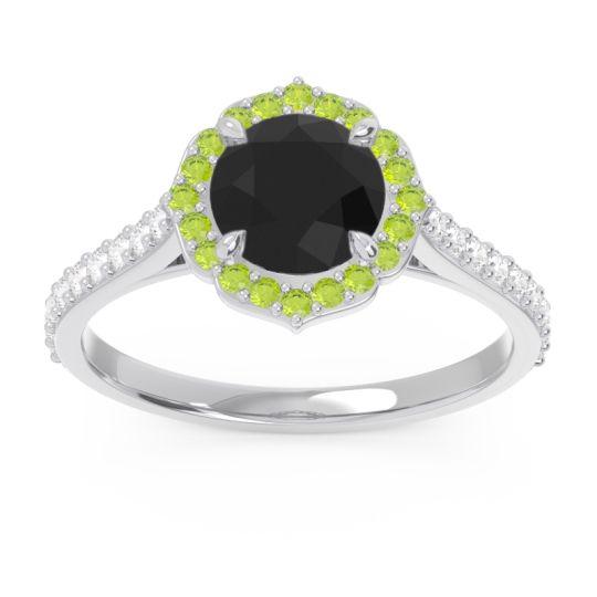 Black Onyx Halo Pave Pulla Ring with Peridot and Diamond in Palladium