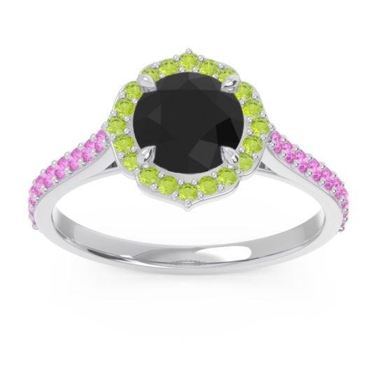 Black Onyx Halo Pave Pulla Ring with Peridot and Pink Tourmaline in 18k White Gold
