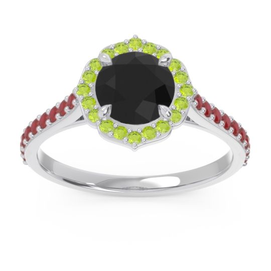 Black Onyx Halo Pave Pulla Ring with Peridot and Ruby in 18k White Gold