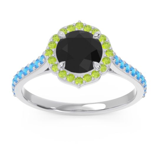 Black Onyx Halo Pave Pulla Ring with Peridot and Swiss Blue Topaz in Palladium
