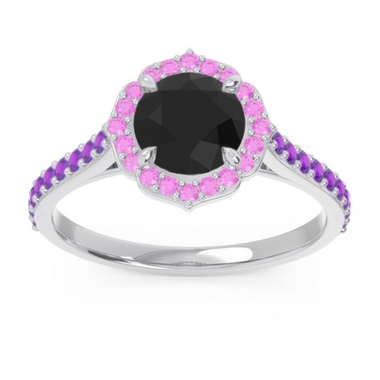 Black Onyx Halo Pave Pulla Ring with Pink Tourmaline and Amethyst in 18k White Gold