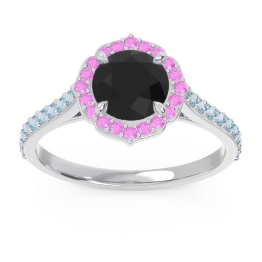 Black Onyx Halo Pave Pulla Ring with Pink Tourmaline and Aquamarine in 18k White Gold