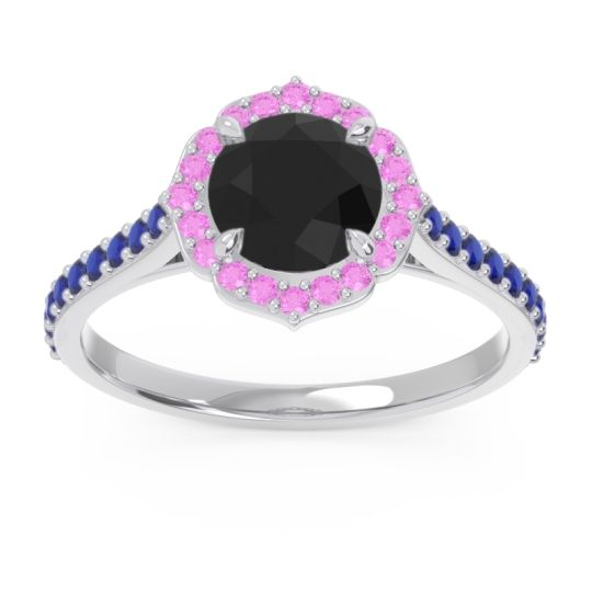 Black Onyx Halo Pave Pulla Ring with Pink Tourmaline and Blue Sapphire in Palladium