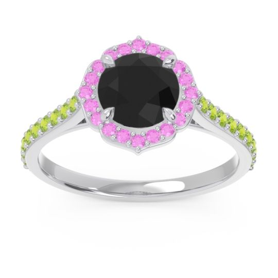 Black Onyx Halo Pave Pulla Ring with Pink Tourmaline and Peridot in Platinum