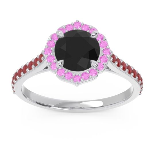 Black Onyx Halo Pave Pulla Ring with Pink Tourmaline and Ruby in Platinum