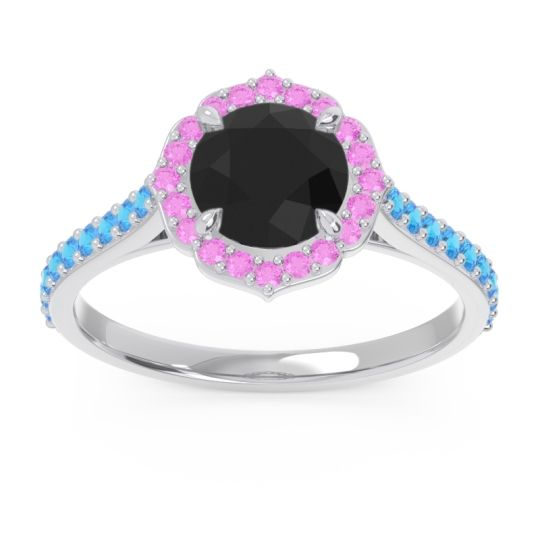 Black Onyx Halo Pave Pulla Ring with Pink Tourmaline and Swiss Blue Topaz in 18k White Gold