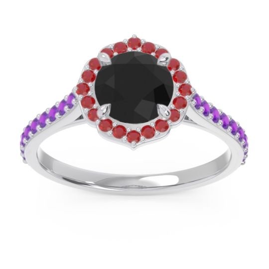 Black Onyx Halo Pave Pulla Ring with Ruby and Amethyst in 18k White Gold