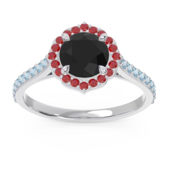 Black Onyx Halo Pave Pulla Ring with Ruby and Aquamarine in Palladium