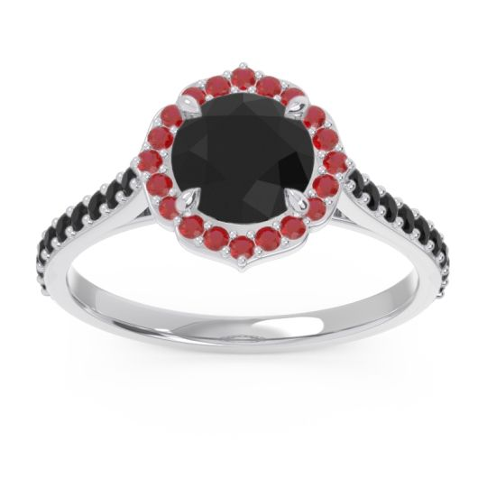 Black Onyx Halo Pave Pulla Ring with Ruby in 14k White Gold