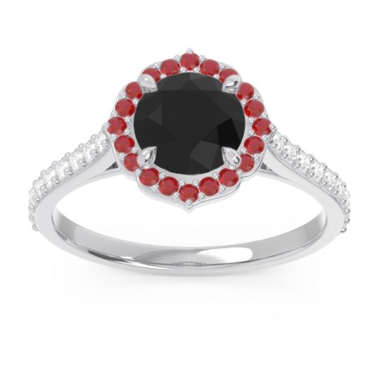Black Onyx Halo Pave Pulla Ring with Ruby and Diamond in Palladium