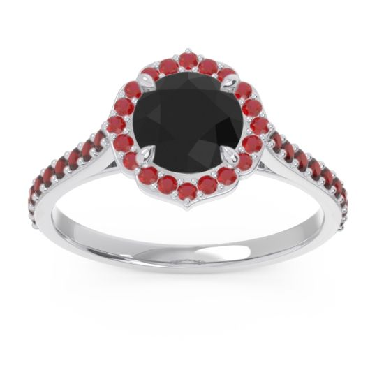 Black Onyx Halo Pave Pulla Ring with Ruby and Garnet in Palladium