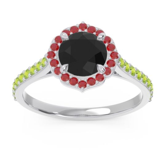 Black Onyx Halo Pave Pulla Ring with Ruby and Peridot in 14k White Gold