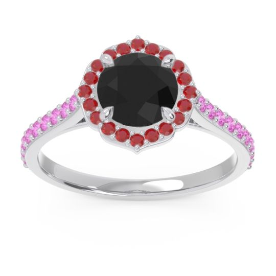 Black Onyx Halo Pave Pulla Ring with Ruby and Pink Tourmaline in 18k White Gold