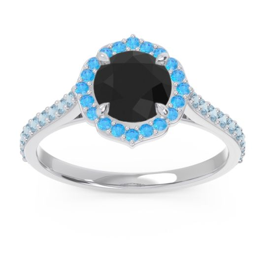 Black Onyx Halo Pave Pulla Ring with Swiss Blue Topaz and Aquamarine in Palladium