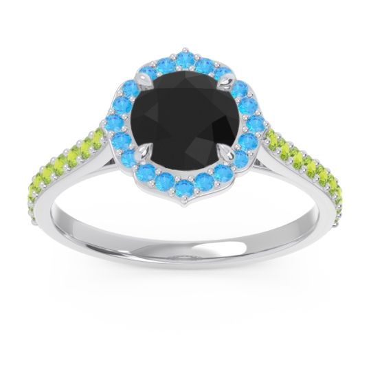 Halo Pave Pulla Black Onyx Ring with Swiss Blue Topaz and Peridot in Platinum