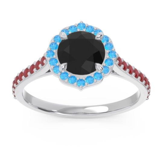 Halo Pave Pulla Black Onyx Ring with Swiss Blue Topaz and Ruby in Platinum