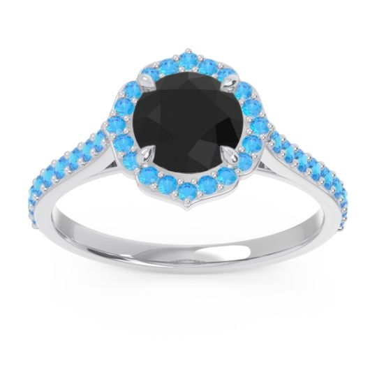 Black Onyx Halo Pave Pulla Ring with Swiss Blue Topaz in 18k White Gold