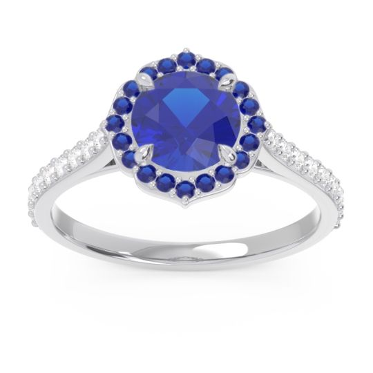 Blue Sapphire Halo Pave Pulla Ring with Diamond in 14k White Gold