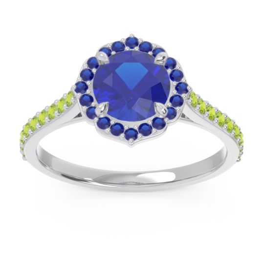 Blue Sapphire Halo Pave Pulla Ring with Peridot in Platinum