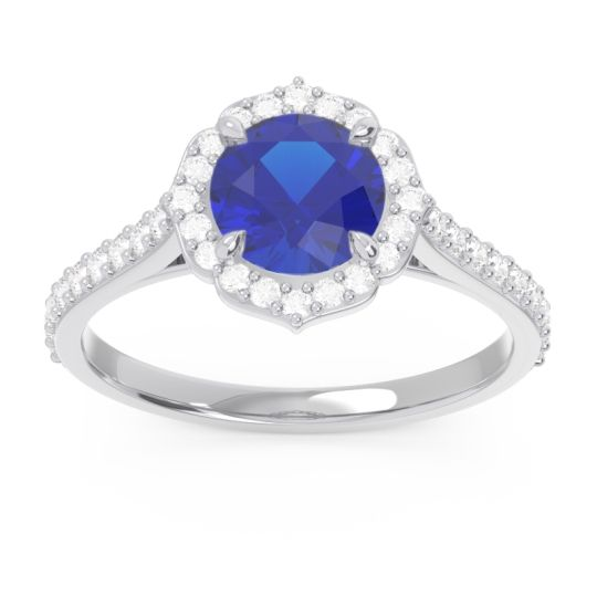 Halo Pave Pulla Blue Sapphire Ring with Diamond in 14k White Gold