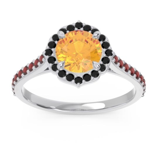 Citrine Halo Pave Pulla Ring with Black Onyx and Garnet in 18k White Gold