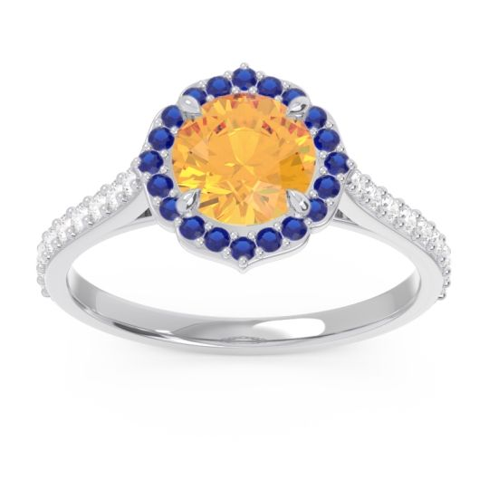 Citrine Halo Pave Pulla Ring with Blue Sapphire and Diamond in 14k White Gold
