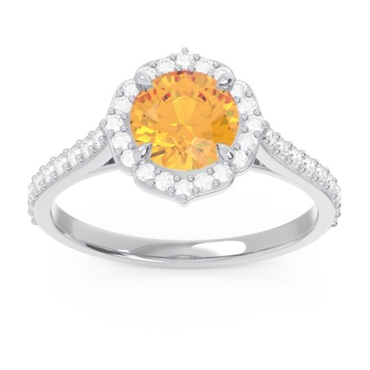 Citrine Halo Pave Pulla Ring with Diamond in 14k White Gold