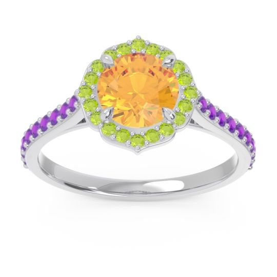 Citrine Halo Pave Pulla Ring with Peridot and Amethyst in 18k White Gold