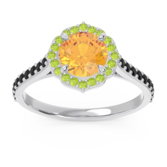 Citrine Halo Pave Pulla Ring with Peridot and Black Onyx in 18k White Gold