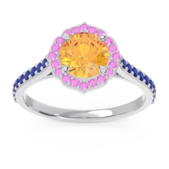 Citrine Halo Pave Pulla Ring with Pink Tourmaline and Blue Sapphire in Palladium