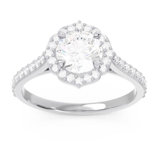 Halo Pave Pulla Diamond Ring in 14k White Gold