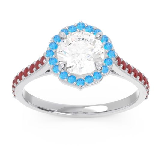 Diamond Halo Pave Pulla Ring with Swiss Blue Topaz and Ruby in Platinum