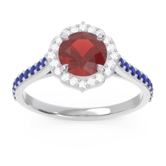 Garnet Halo Pave Pulla Ring with Diamond and Blue Sapphire in Platinum