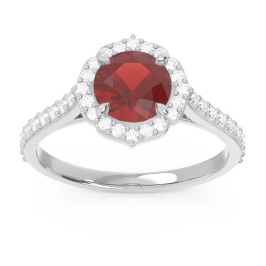 Garnet Halo Pave Pulla Ring with Diamond in Platinum