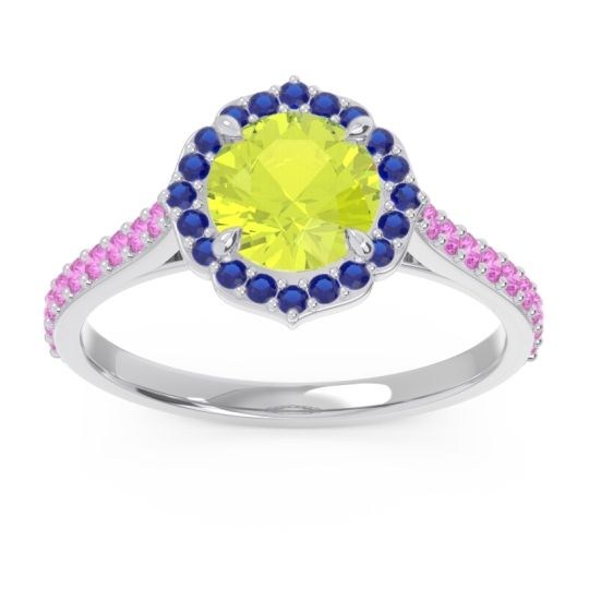 Peridot Halo Pave Pulla Ring with Blue Sapphire and Pink Tourmaline in 14k White Gold