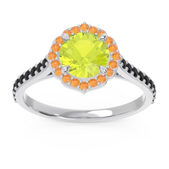 Peridot Halo Pave Pulla Ring with Citrine and Black Onyx in 14k White Gold