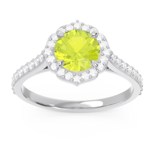 Peridot Halo Pave Pulla Ring with Diamond in 14k White Gold