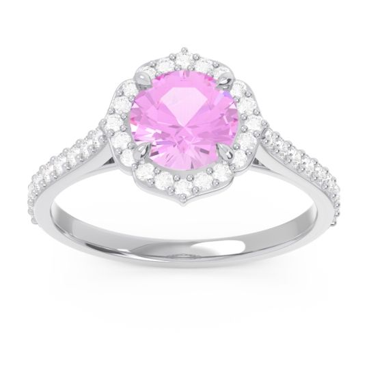Pink Tourmaline Halo Pave Pulla Ring with Diamond in 14k White Gold