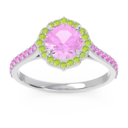 Pink Tourmaline Halo Pave Pulla Ring with Peridot in 18k White Gold