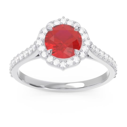 Halo Pave Pulla Ruby Ring with Diamond in 14k White Gold