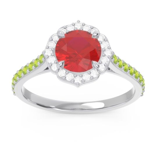 Ruby Halo Pave Pulla Ring with Diamond and Peridot in Palladium