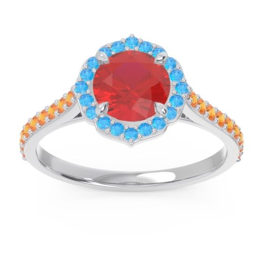 Ruby Halo Pave Pulla Ring with Swiss Blue Topaz and Citrine in 14k White Gold