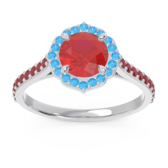 Halo Pave Pulla Ruby Ring with Swiss Blue Topaz in Platinum