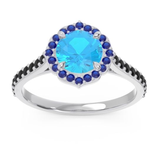Swiss Blue Topaz Halo Pave Pulla Ring with Blue Sapphire and Black Onyx in 14k White Gold
