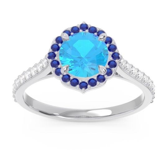 Swiss Blue Topaz Halo Pave Pulla Ring with Blue Sapphire and Diamond in Platinum