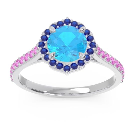 Swiss Blue Topaz Halo Pave Pulla Ring with Blue Sapphire and Pink Tourmaline in Platinum