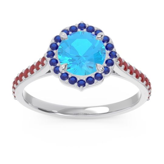 Swiss Blue Topaz Halo Pave Pulla Ring with Blue Sapphire and Ruby in 14k White Gold
