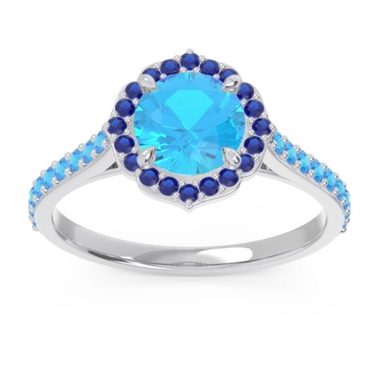 Swiss Blue Topaz Halo Pave Pulla Ring with Blue Sapphire in 14k White Gold
