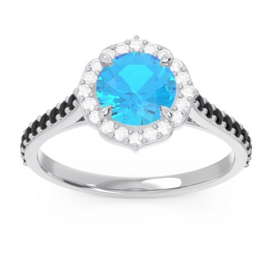 Swiss Blue Topaz Halo Pave Pulla Ring with Diamond and Black Onyx in Platinum